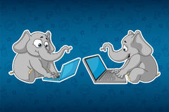 Stickers elephants. Sits at the computer. Work on the Internet. Communication in the network. Big set of stickers. Vector, cartoon Stock Photography