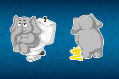Stickers elephants. Sits on the toilet bowl. Pissing, turning away. Big set of stickers. Vector, cartoon Royalty Free Stock Image
