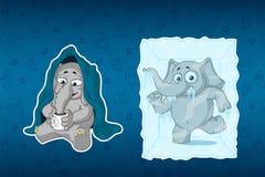 Stickers elephants. He is sitting under a blanket, drinking tea. Frozen in ice cube. Big set of stickers. Vector, cartoon stock illustration