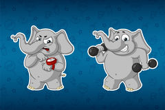 Stickers elephants. Sports, dumbbells in the hands, fitness. Training. Trainer. Humor. Big set of stickers. Vector, cartoon. Elephant cute Nick. Stickers Royalty Free Stock Images