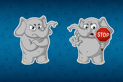 Stickers elephants. Stop sign, holds in hands. Warning. Nelovolen. Big set of stickers. Vector, cartoon Royalty Free Stock Photo