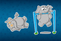 Stickers elephants. Turnstile to pull-up. It`s hard for him. Lying corpse. Big set of stickers. Vector, cartoon. Royalty Free Stock Images