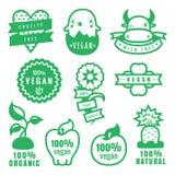 Stickers en de pictogrammen de van groene veganist, wreedheids vrije, natuurlijke en biologische producten in vector Stock Afbeeldingen