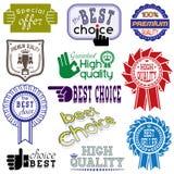 Stickers en etiketten geplaatst die op wit worden geïsoleerd Royalty-vrije Stock Afbeeldingen