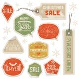 Stickers en Etiketten voor Kerstmis en Nieuwjaar Stock Afbeelding