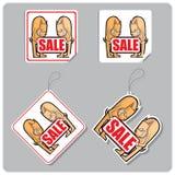 Stickers en etiketten voor verkoop met honden. Stock Afbeeldingen