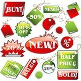 Stickers en verkoopmarkeringen Stock Fotografie