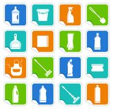 Stickers with the equipment for cleaning Royalty Free Stock Photography