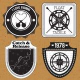 Stickers, etiketten op het thema van visserijvector Royalty-vrije Stock Foto's