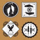 Stickers, etiketten op het thema van visserijvector Stock Afbeeldingen