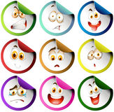 Stickers with facial expression. Illustration Royalty Free Stock Photo