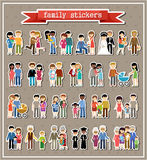 Stickers of family life in style flat design Stock Images