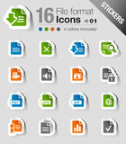 Stickers - File format icons. 16 file format icons set Stock Photography
