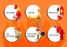 Stickers with firefighting items. Fire protection equipment Stock Photo