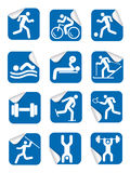 Stickers with fitness sport icons. Royalty Free Stock Images
