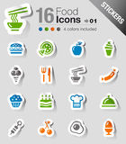 Stickers - Food Icons. 16 food and restaurant icons set Royalty Free Stock Photos