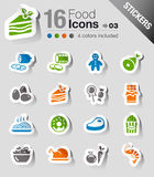 Stickers - Food Icons. 16 food and restaurant icons set vector illustration
