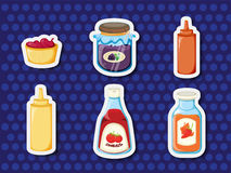 Stickers of foods Stock Images