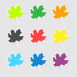 The stickers in the form of a maple leaf on autumn Royalty Free Stock Photography
