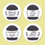 Stickers with freehand drawn burgers and hand lettering in vector. Stylized fast food illustration Royalty Free Stock Photos