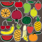 Stickers Of Fruit Set. Vector ESP 10 Royalty Free Stock Photo