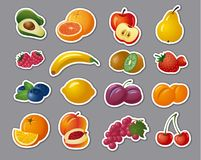 Stickers of fruits and berries. Illustration of stickers of fresh fruits and berries royalty free illustration