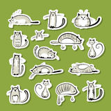 Stickers with funny cats for your design Royalty Free Stock Photo