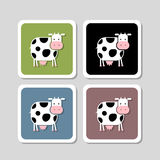 Stickers with funny cow for your design Royalty Free Stock Photo
