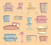Stickers with furniture images Stock Photo