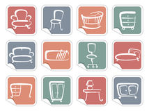 Stickers with furniture images Royalty Free Stock Images