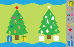 Stickers game with New Year, Christmas tree. Educational game for children. Stickers game with New Year, Christmas tree. Educational game for children Royalty Free Stock Photography