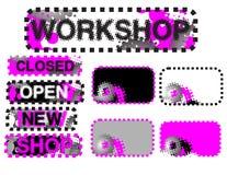 Stickers (gesloten, open, workshop) Stock Foto
