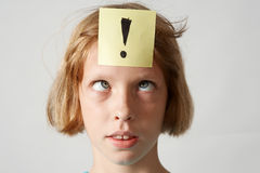 Stickers girl. Portrait of young girl with colorful funny stickers royalty free stock photography