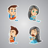 A girl and a boy are waiting for a phone call, crying badly from a bad response in a phone. Stickers with a girl and a boy, emotions crying, waiting for a notice Royalty Free Stock Images