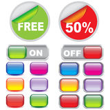 Stickers and glossy button metallic Stock Photography