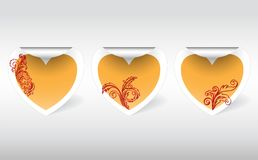 Stickers with a golden heart Royalty Free Stock Photography