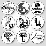 9 stickers hairdresser and barbershop Stock Photos