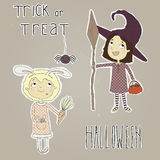Stickers for Halloween. Stickers girls dressed in  Stock Image