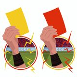 Stickers hands holds yellow red card. Set of round emblems or stickers with close up of soccer referee hand holding yellow card and football umpire hand holding Royalty Free Stock Images
