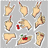 Stickers with Human Hand Signs - vector isolated design elements Royalty Free Stock Image