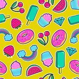 Stickers of ice cream, cherry, strawberry, rainbow, donut, cupcake, diamond etc on yellow background. Seamless pattern with colorful patches. Stickers of ice Royalty Free Stock Photo