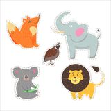 Cute Animals Cartoon Flat Vector Stickers Set. Stickers and icons set of cute wild and domestic animals - funny fox, elephant, koala, lion and partridge flat Stock Image
