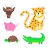 Cute Animals Cartoon Flat Vector Stickers Set. Stickers and icons set of cute wild and domestic animals - funny owl, leopard, turtle, crocodile, and pig  flat Royalty Free Stock Images