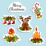 Stickers with inscription Merry christmas. Royalty Free Stock Images