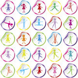 Stickers with kids. Stickers with happy stylised kids Royalty Free Stock Photos