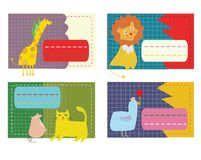Stickers for the kids with animals. Funny design. Vector graphic illustration Stock Photos
