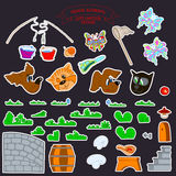 0515_3 stickers kids. Set of cute cartoon stikers kids for sweet child Royalty Free Stock Images