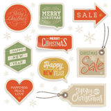 Stickers and Labels for Christmas and New Year Stock Image