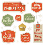 Stickers and Labels for Christmas and New Year Royalty Free Stock Image