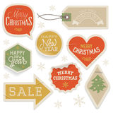 Stickers and Labels for Christmas and New Year Royalty Free Stock Photography